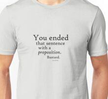 Preposition Black Unisex T-Shirt