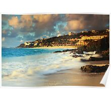 Surf on the Rocks at Dawn Beach Poster
