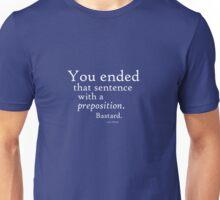 Preposition White Unisex T-Shirt