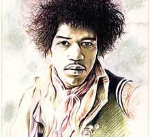 Jimi Hendrix charity portrait by wu-wei