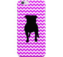Perfectly Pink Chevron With Pug Silhouette iPhone Case/Skin