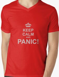 Keep Calm and Panic Mens V-Neck T-Shirt