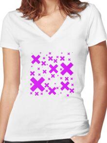 Pink Emo Crosses Women's Fitted V-Neck T-Shirt