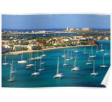Marigot Harbor Waterfront, St. Martin Poster
