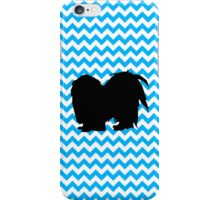 Baby Blue Chevron With Shih Tzu Silhouette iPhone Case/Skin