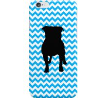 Baby Blue Chevron With Pug Silhouette iPhone Case/Skin