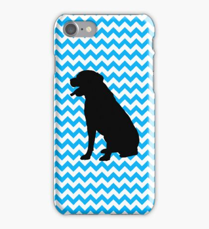 Baby Blue Chevron With Lab Silhouette iPhone Case/Skin
