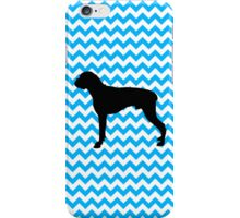 Baby Blue Chevron With Boxer Silhouette iPhone Case/Skin