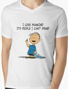 Linus Mankind Quote Mens V-Neck T-Shirt