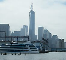 New World Trade Center, View from Christopher Street and Hudson River, New York City by lenspiro