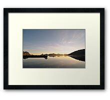 Small house reflected in the waters of the northern fjord Framed Print