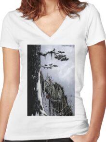 The Snow Painter - Earth Beasts Awaken creature art apparel Women's Fitted V-Neck T-Shirt
