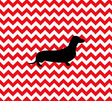 Fire Truck Red Chevron With Dachshund by pjwuebker