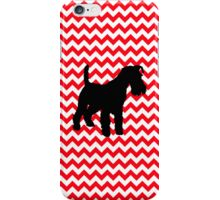 Fire Truck Red Chevron With Schnauzer iPhone Case/Skin
