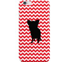Fire Truck Red Chevron With Yorkie Silhouette iPhone Case/Skin