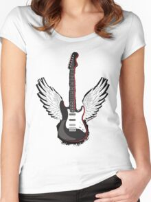Winged Guitar Women's Fitted Scoop T-Shirt