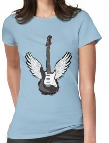 Winged Guitar Womens Fitted T-Shirt
