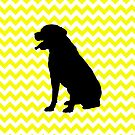 Lemon Yellow Chevron With Labrador Retriever by pjwuebker