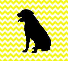 Lemon Yellow Chevron With Labrador Retriever by pjwuebker