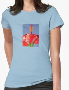 Tropical Red Hibiscus Flower Against Blue Sky Womens Fitted T-Shirt