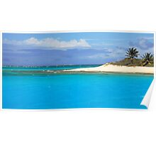 Sandy Island Beach and Turquoise Sea  Poster