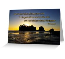 sunset silhouettes with golden romans 8:28 Greeting Card
