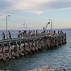 Fishing! in the Blue Hour, Jetty, Point Turton, South Australia. by Rita Blom