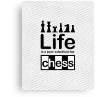 Chess v Life - Black Graphic Canvas Print
