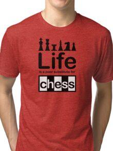 Chess v Life - Carbon Fibre Finish Tri-blend T-Shirt
