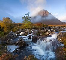 Glen Coe. Buachaille Etive Mòr. Misty morning in Autumn. River Coupall Waterfalls. Highland Scotland. by photosecosse /barbara jones
