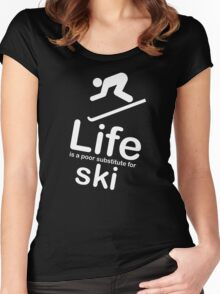Ski v Life - White Graphic Women's Fitted Scoop T-Shirt