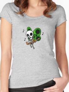 Adventure Time Keytar Skull Butterfly Women's Fitted Scoop T-Shirt