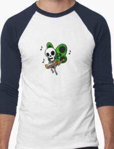 Adventure Time Keytar Skull Butterfly Men's Baseball ¾ T-Shirt