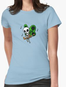 Adventure Time Keytar Skull Butterfly Womens Fitted T-Shirt