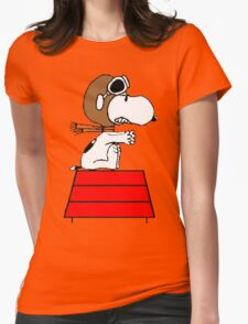 Red Baron Snoopy Womens Fitted T-Shirt