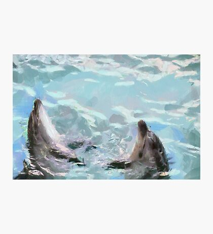 Dolphins at dance painting Photographic Print