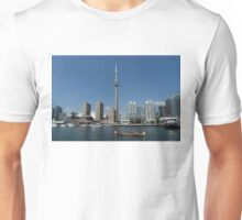 The Old and the New - Traditional Big Voyageur Canoe in Toronto's Harbour Unisex T-Shirt