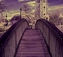 Infrared Bridge to the Church by printsbypixie