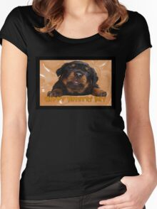 Cute Rottweiler Happy Fathers Day Greetings Women's Fitted Scoop T-Shirt