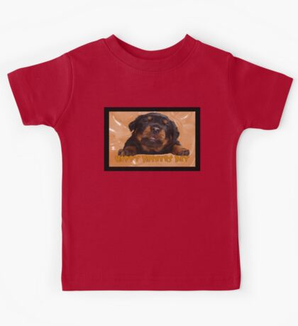 Cute Rottweiler Happy Fathers Day Greetings Kids Tee