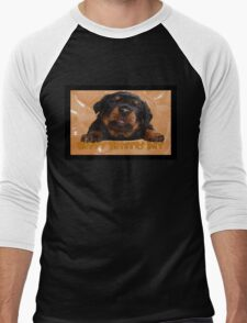 Cute Rottweiler Happy Fathers Day Greetings Men's Baseball ¾ T-Shirt