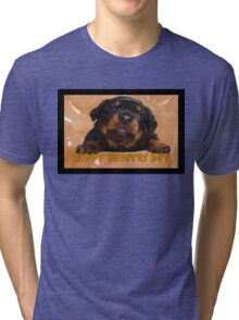 Cute Rottweiler Happy Fathers Day Greetings Tri-blend T-Shirt