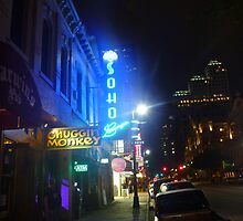 Night Scene on Sixth Street in Austin by Chad Burrall