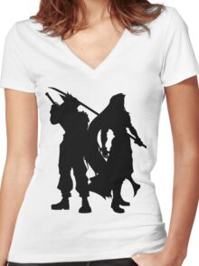 Cloud & Sephiroth Silhouettes Women's Fitted V-Neck T-Shirt