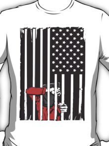 Guantanamo US Flag Political T-shirt. Prisoner behind bars. T-Shirt