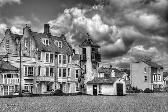 South Lookout Tower Aldeburgh Black and White by Chris Thaxter