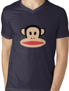 Monkey face logo Mens V-Neck T-Shirt