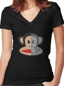 Alien Monkey face logo Women's Fitted V-Neck T-Shirt