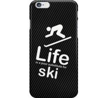 Ski v Life - Carbon Fibre Finish iPhone Case/Skin