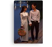 Vietnam. Hanoi. Hoan Kiem Lake. Bride and Groom. Canvas Print